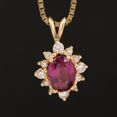 14K Rhodolite Garnet and Diamond Necklace