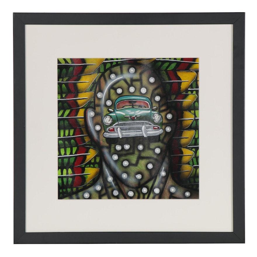 "José Franco Acrylic Painting ""Cabeza Auto Verde,"" 2004"