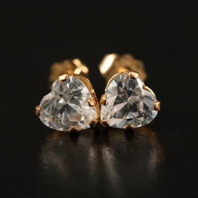 10K Cubic Zirconia Heart Stud Earrings