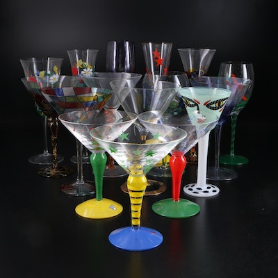 "Orrefors ""Clown"", Kosta Boda and Other Hand Decorated Stemware"