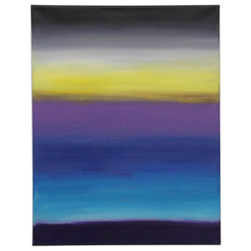 "Sanna Abstract Acrylic Painting ""Last Light,"" 2020"