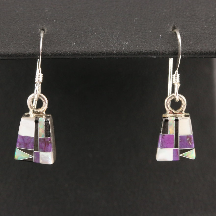 Signed Western Style Sterling Silver Gemstone Inlay Drop Earrings