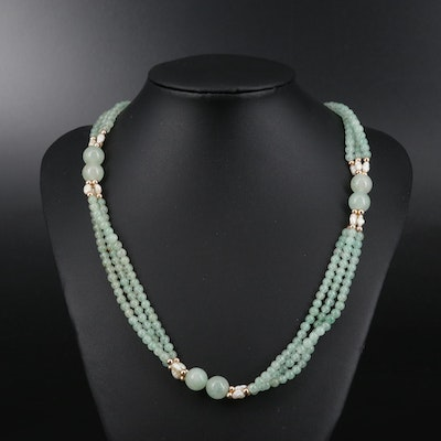 Triple Strand Aventurine and Pearl Necklace