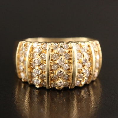 14K 1.00 CTW Diamond Domed Band