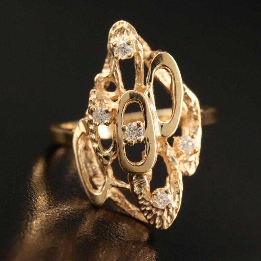 14K Diamond Openwork Geometric Ring