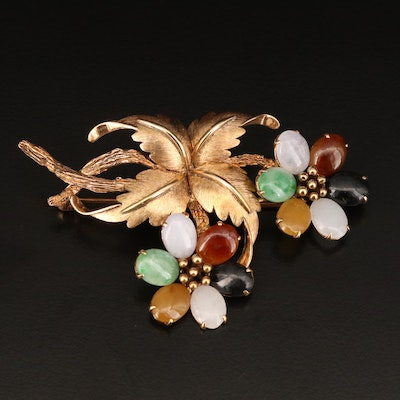 14K Jadeite and Black Onyx Floral Themed Brooch