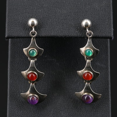 Sterling Silver Amethyst, Carnelian and Chalcedony Dangle Earrings