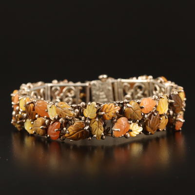 Sterling Tiger's Eye, Jasper and Mother of Pearl Leaf Bracelet