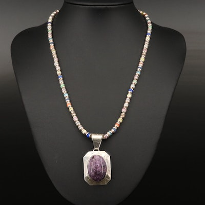 Sterling Silver Charoite and Cat's Eye Glass Necklace
