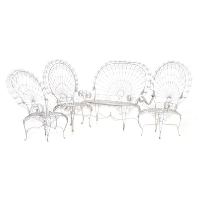 "Victorian ""Peacock"" Twisted Wire Armchairs and Settee Patio Set"