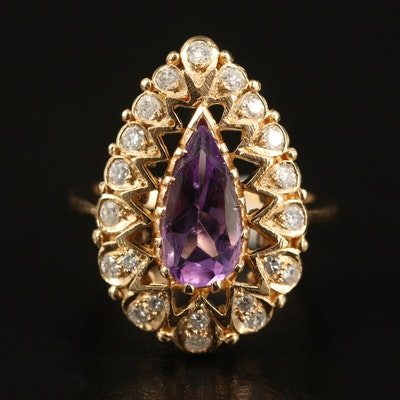 14K Amethyst and Diamond Teardrop Ring