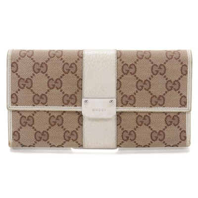 Gucci Long Wallet in GG Canvas and Grained White Leather