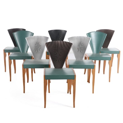Cattelan Italia Beech and Leather Fan-Back Memphis Style Side Chairs