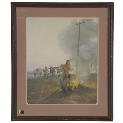 """Tom Lovell Offset Lithograph """"Fires Along The Oregon Trail,"""" Late 20th Century"""