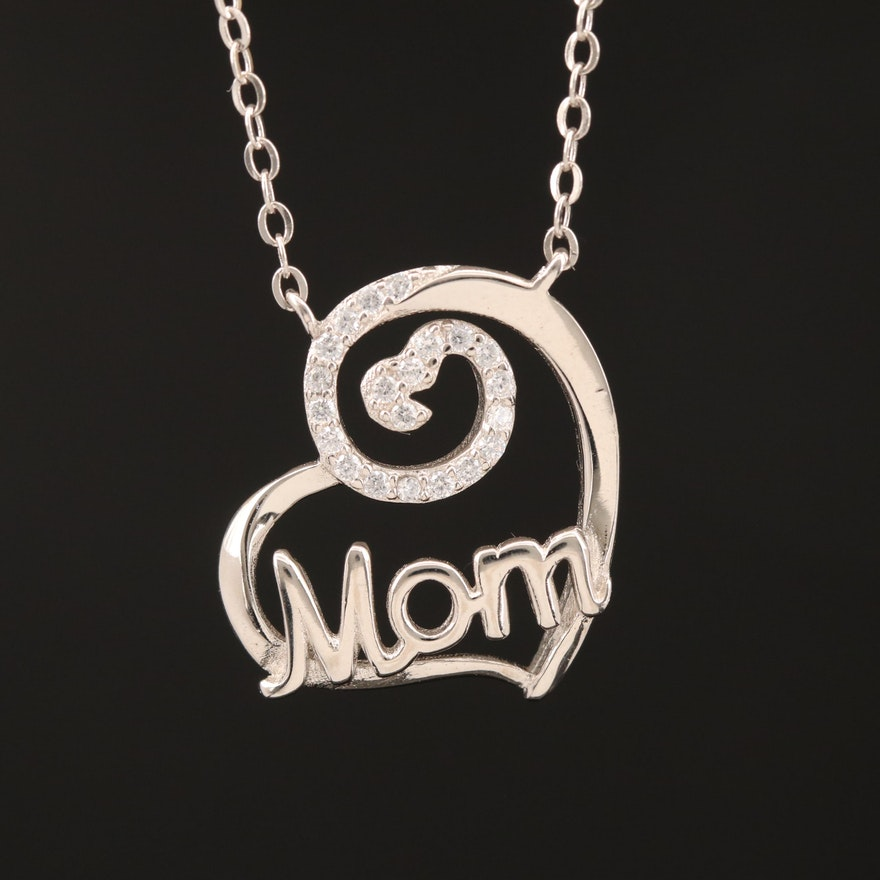 Sterling Cubic Zirconia Mom Heart Necklace