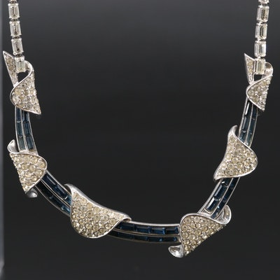 1960s Marcel Boucher Rhinestone and Glass Choker