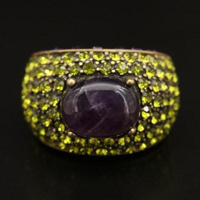 Heidi Daus Amethyst and Rhinestone Ring