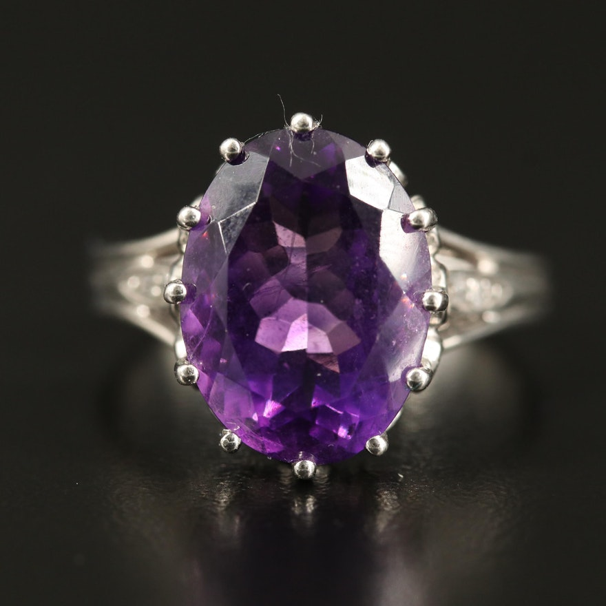 Sterling Amethyst, Peridot and Topaz Ring