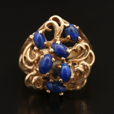 14K Lapis Lazuli Ring with Openwork Scroll Pattern