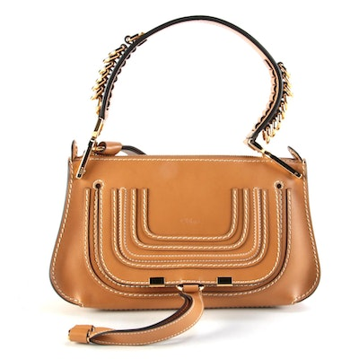 Chloé Marcie Small Two-Way Satchel in Tan Leather with Contrast Stitching