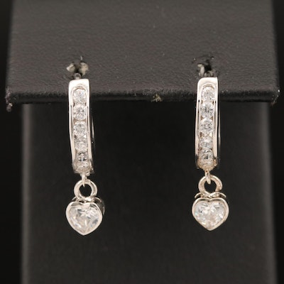 Cubic Zirconia Hoop Earrings with Heart Dangles