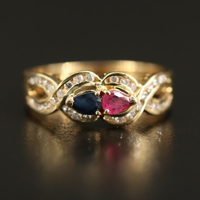 14K Sapphire, Ruby and Diamond Crossover Ring