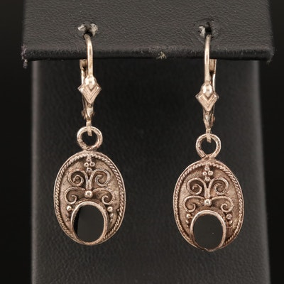 Sterling Black Onyx Earrings with Scroll Work and Rope Appliqué Detail