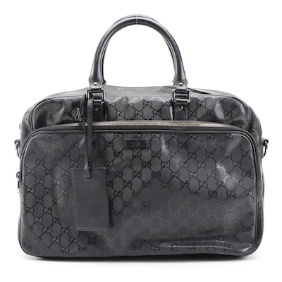 Gucci Business Bag in Black GG Imprimé PVC with Leather Trim