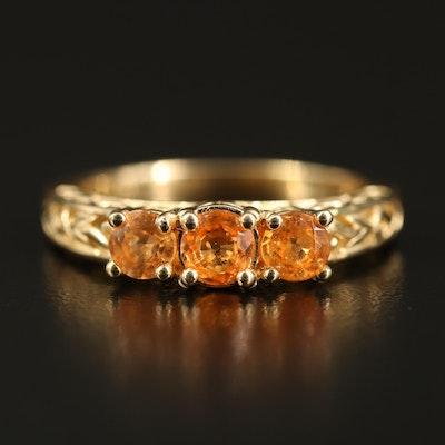 14K Spessartine Three Stone Ring