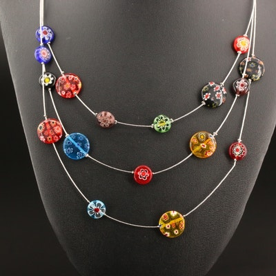 Millefiori Multi-Strand Station Necklace