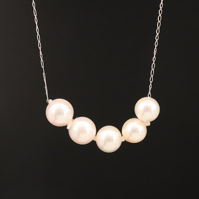 14K Five Pearl Necklace