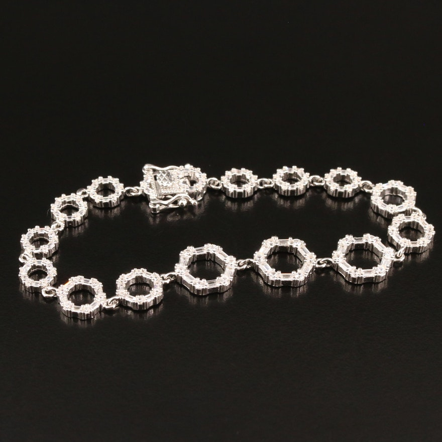 Sterling Silver Cubic Zirconia Circle Link Bracelet