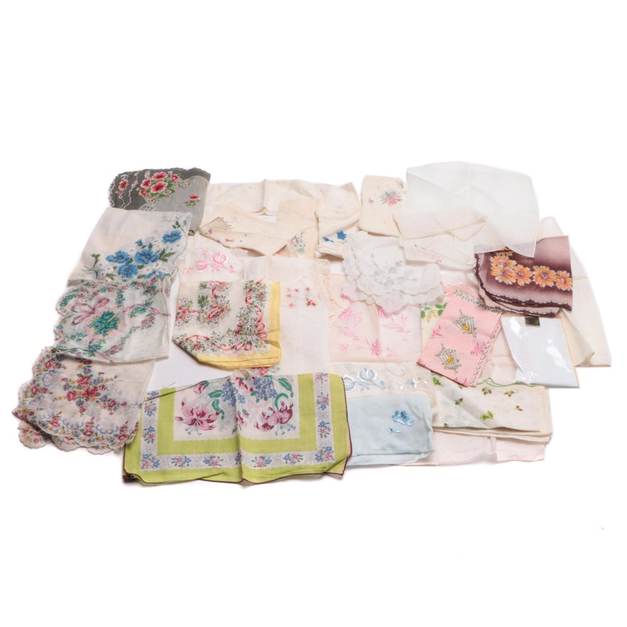 Printed and Embroidered Napkins and Handkerchiefs, Mid to Late 20th Century