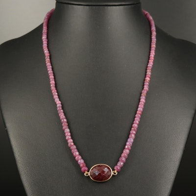 10K Corundum and Ruby Beaded Necklace