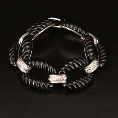 Sterling Black Onyx Oval Link Panel Bracelet