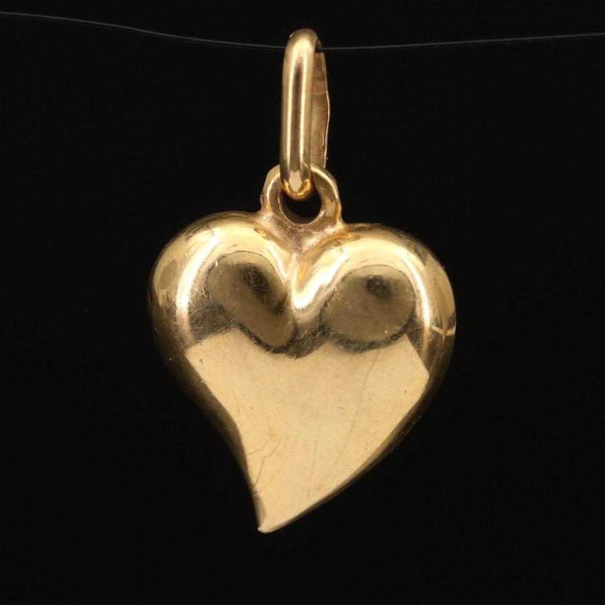 18K Puff Heart Pendant