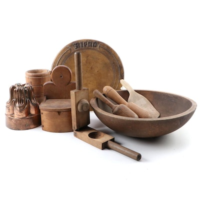 Copper Mold, Wooden Dough Bowl, and More Wooden Kitchen Tools