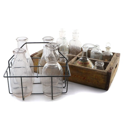 Glass Milk Bottles, Lincoln Bank Bottles, and Other Bottles with Crates