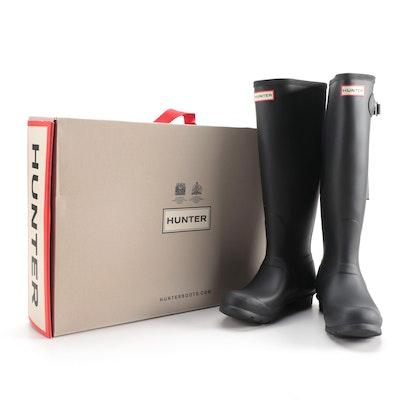 Hunter Original Tall Rain Boots in Matte Black with Box, Size 8