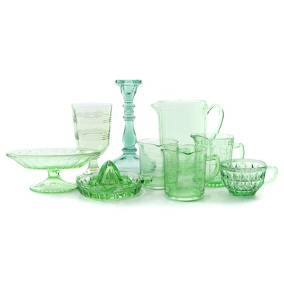 Vaseline and Green Depression Glass Pitchers, Citrus Juicer, Compote and More
