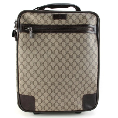 Gucci Web Small Rolling Suitcase in GG Supreme Canvas with Brown Leather Trim