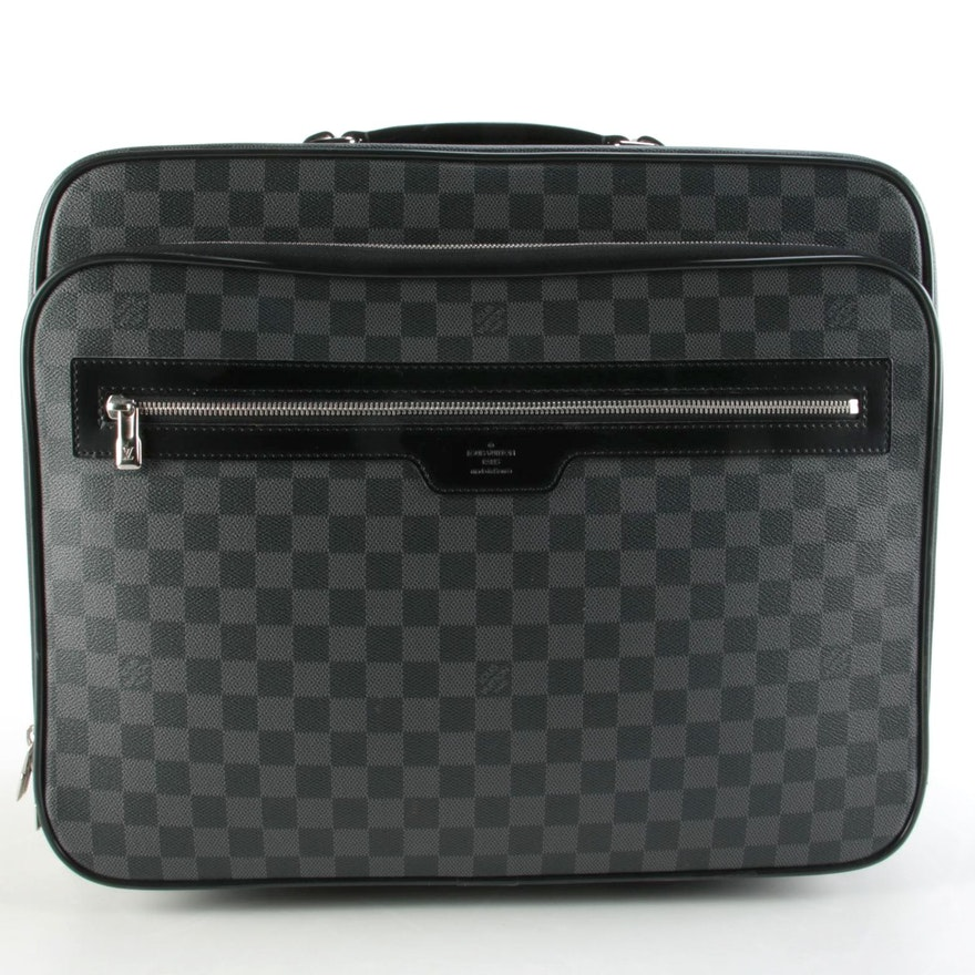 Louis Vuitton Wheeled Pilot Case in Damier Graphite Canvas with Leather Trim