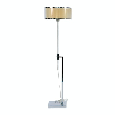 Adjustable Chrome Floor Lamp with Sheer Fabric Drum Shade