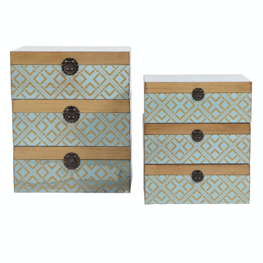 Modern Geometric Gold-Tone and Teal Storage Boxes