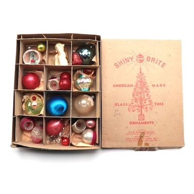 Shiny Brite and Other Glass Christmas Ornaments, Mid to Late 20th C.