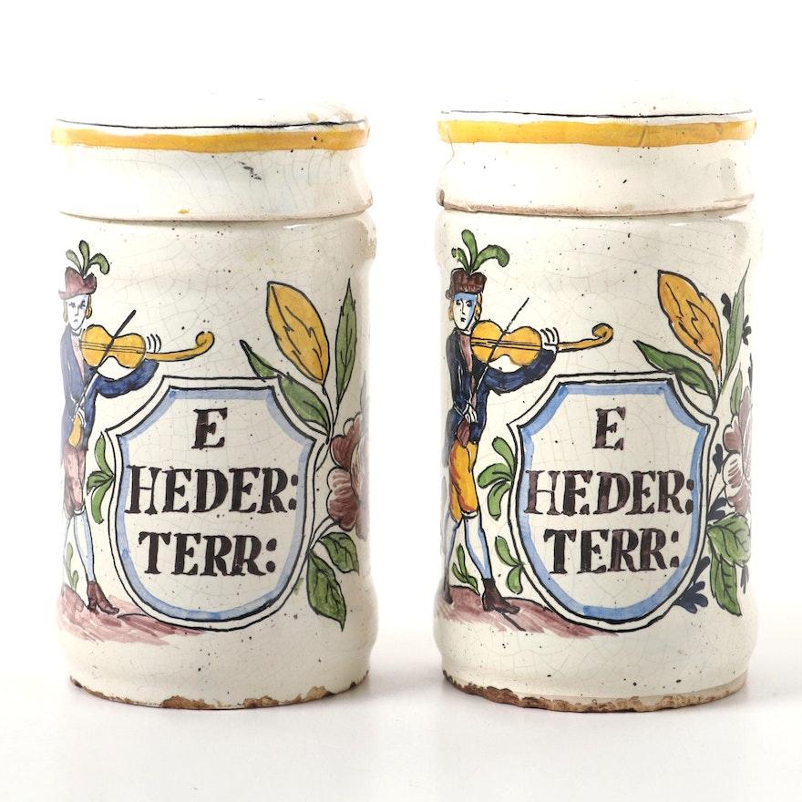 Pair of Polychrome Faïence Apothecary Jars, 18th Century