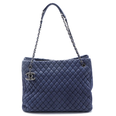 Chanel New Bubble Large Tote in Dark Blue Quilted Calfskins