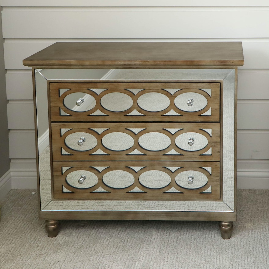 Mirror and Wood-Finish Chest of Drawers