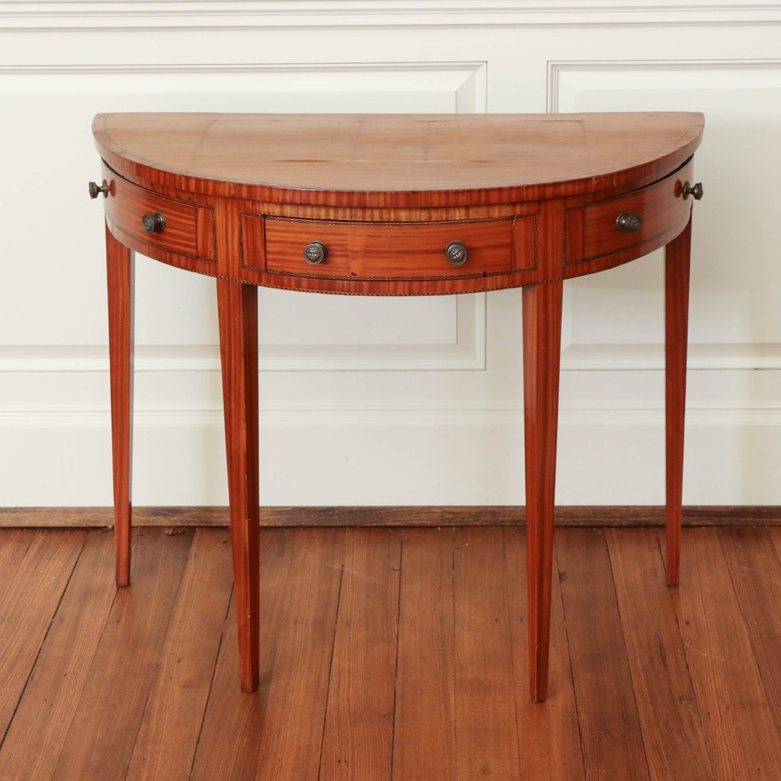 Victorian Satinwood Demilune Table, Late 19th Century