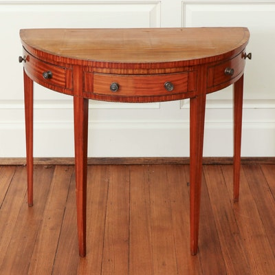 Victorian Satinwood Demilune Table, 19th Century